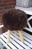 Kruk, bekleed met echt schapenvacht-schapenbont, bruin_
