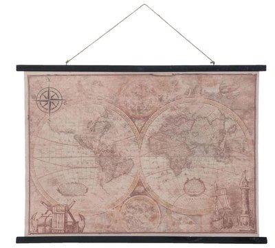 Clayre & Eef Wandkaart wereld 105x2x76 cm