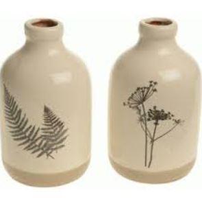 Fles aardewerk bladdessin off-white 15cm