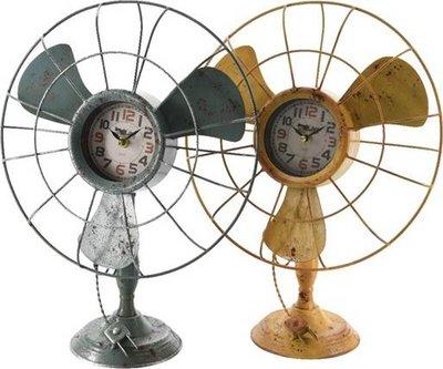 Klok ijzer ventilatormodel 41x32cm (okergeel/roest)
