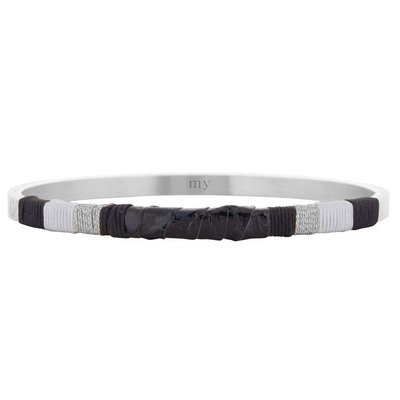 Leather Bangle Black - Silver