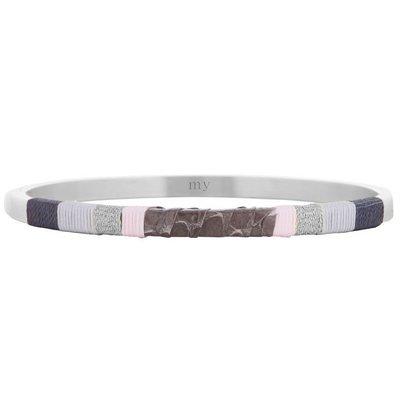 Leather Bangle Grey - Silver