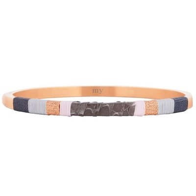 Leather Bangle Grey - Rose
