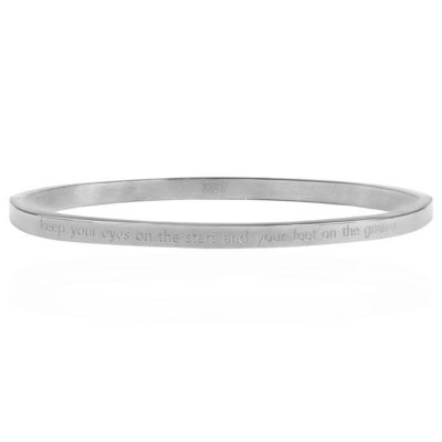 Keep Your Eyes On The Stars And Your Feet On The Ground Bangle - Silver