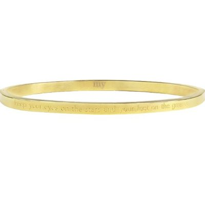 Keep Your Eyes On The Stars And Your Feet On The Ground Bangle - Gold