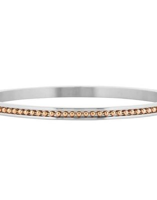 Bicolor Dots Bangle – Silver/Rose