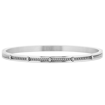 Dotted Chain Bangle - Silver