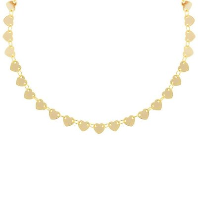 Heart Disc Choker - Gold