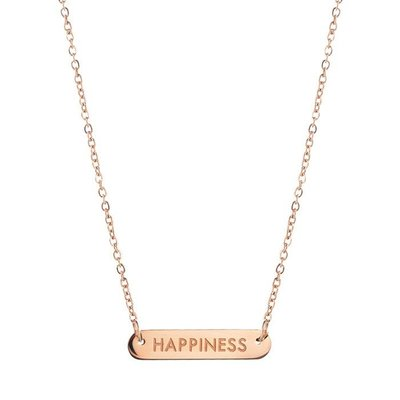Bar Quote Necklace Happiness - Rose