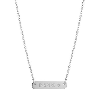 Bar Quote Necklace Inspire - Silver