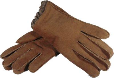 DWV2P67, leren dames handschoenen, echte bontrand, lammy, M, beige