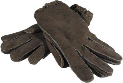 DWV4P67, leren dames handschoenen, echte bontrand, lammy, M, grijs