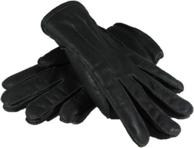 DWD3P67, leren dames handschoenen, echte bontrand, lammy, M, donkergroen