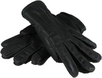 DWD7P67, leren dames handschoenen, echte bontrand, lammy, M, donkergroen