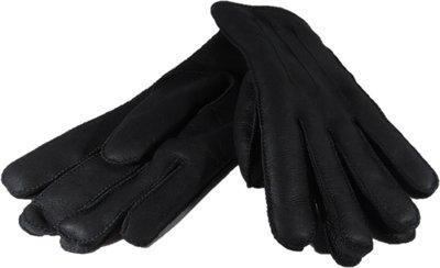 DWD6P67, leren dames handschoenen, echte bontrand, lammy, M, zwart