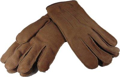 DWD9P67, leren dames handschoenen, echte bontrand, lammy, M, bruin