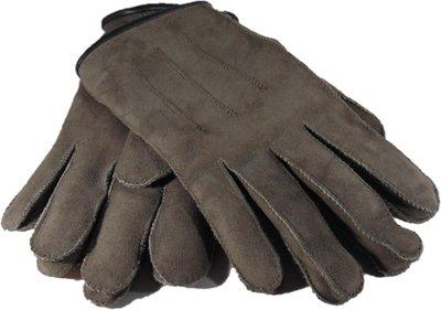 DWD8P67, leren dames handschoenen, echte bontrand, lammy, M, grijs/beige