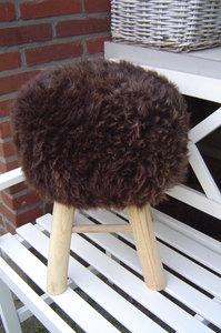 Kruk, bekleed met echt schapenvacht-schapenbont, bruin