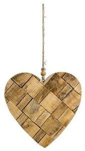 Houten hart hangend ca. 15cm