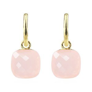 Square Stone Earrings - Light Pink Gold