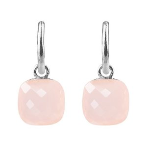 Square Stone Earrings - Light Pink Silver