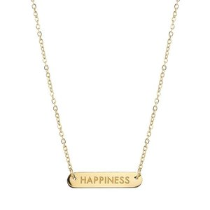 Bar Quote Necklace Happiness - Gold