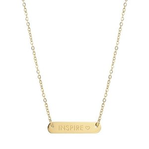 Bar Quote Necklace Inspire - Gold